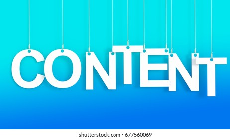 Content hanging Letters over blue background 3D rendering