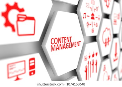 Content management concept cell blurred background 3d illustration
