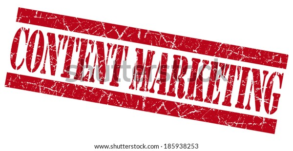 content marketing red square grunge textured stamp isolated on white