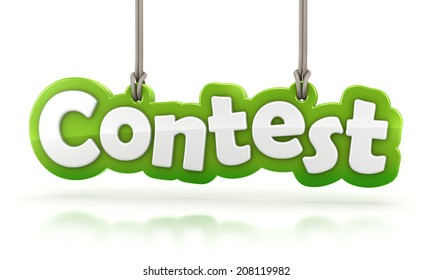 Contest green word text hanging on white background with clipping path