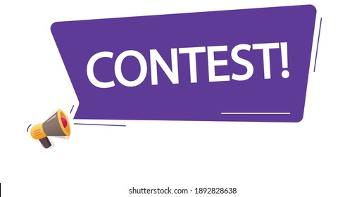 Contest icon message notice concept flat cartoon, megaphone with loud bubble speech and competition text promotion or advertising modern design image