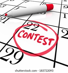 Contest Word Circled Calendar Date Entry Deadline