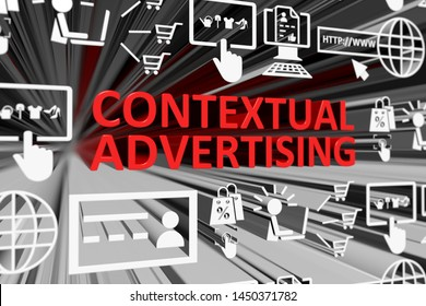 CONTEXTUAL ADVERTISING concept blurred background 3d render illustration