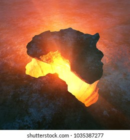 Continent of Africa as solid rock ripped from a red hot hole in the earth. Conceptual 3D rendered artwork
