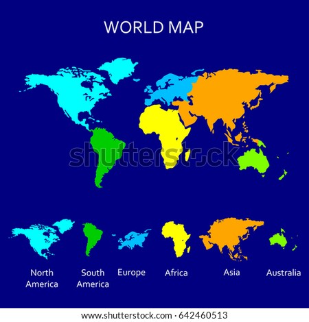 Continent map colorful world map atlas stock illustration 642460513 continent map colorful world map atlas stock illustration 642460513 shutterstock gumiabroncs Choice Image