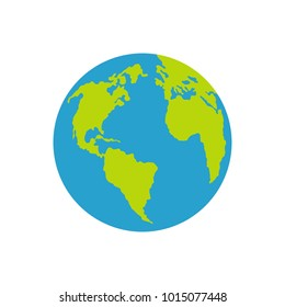 Continent on planet icon. Flat illustration of continent on planet  icon isolated on white background