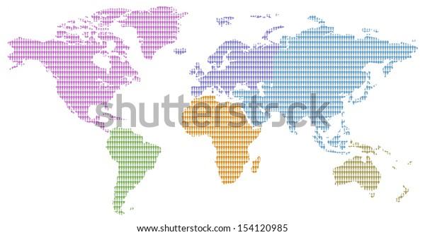 continents colors little men pattern world map