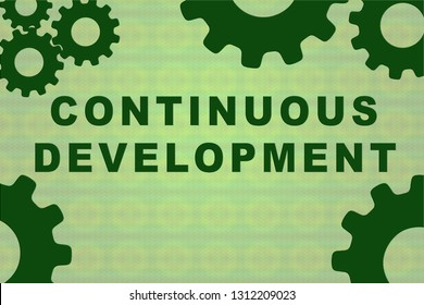 CONTINUOUS DEVELOPMENT sign concept illustration with green gear wheel figures on pale green background