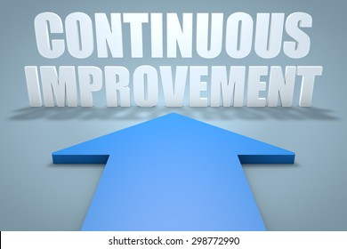Continuous Improvement - 3d render concept of blue arrow pointing to text.