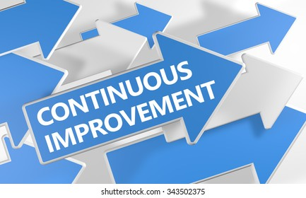 Continuous Improvement - 3d render concept with blue and white arrows flying over a white background.