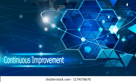 Continuous Improvement background abstract blue concept solution