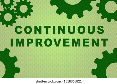 CONTINUOUS IMPROVEMENT sign concept illustration with green gear wheel figures on pale green background