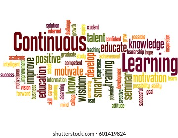 Continuous Learning, word cloud concept on white background.