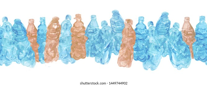 Continuous line of blue and brown plastic bottles. Can be used as a background or design on the theme of ecology, pollution of the planet and recycling