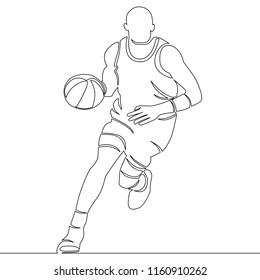continuous line drawing of basketball player with ball illustration