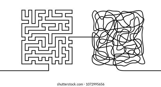 Continuous line drawing a chaos and order concept, chaos theory metaphor minimalist single line illustration
