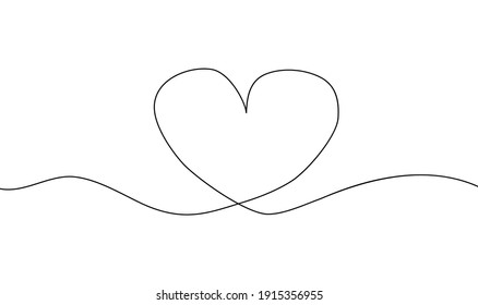 Continuous line drawing of heart, Black and white minimalist illustration of love concept