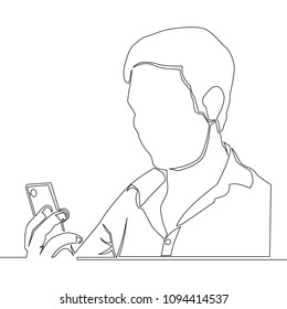 continuous line drawing of a man using a smartphone illustration