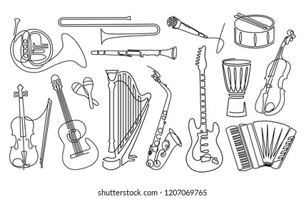 Continuous line drawing of Musical instruments linear icons set. Orchestra equipment. Stringed, wind, percussion instruments. Thin line contour symbols. Isolated  outline illustrations.