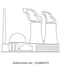 Continuous line drawing nuclear power plant concept illustration