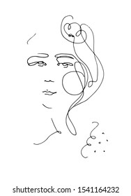 Continuous line drawing portrait of a young woman. Hand drawn pen illustration. Fashion illustration of elegant graceful lady.