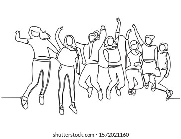 Continuous line drawing of seven jumping happy team members.one continuous drawn line from the hand picture silhouette. line art. character teenagers a symbol of joy and happiness