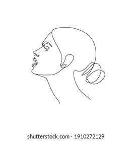 Continuous Line Drawing of Woman Face, Fashion Minimalist Concept, Woman Beauty Drawing. Good for Prints, T-shirt, Banners, Slogan Design Modern Graphics Style. Raster copy