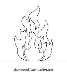 Continuous line fire one line drawing isolated fire illustration