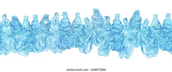 Continuous line of plastic bottles. Can be used as a background for an inscription or for any of your design on the theme of ecology, pollution of the planet and recycling