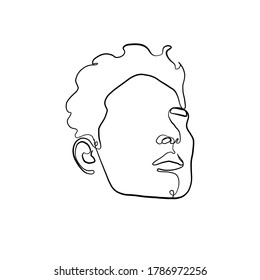 Continuous line portrait man. Minimal silhouette male face. Modern sketch portrait. Outline symbol. Symbol, sign. Vector drawing illustration.