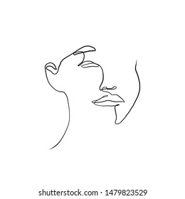 Continuous line portrait of a model woman or girl. Minimalism simple art.  Painting one line young  face