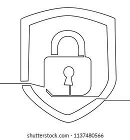 Continuous one line drawing icon security lock illustration