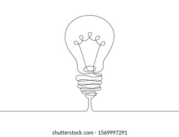 Continuous one line drawing light bulb symbol idea.. Outline hand drawn vector illustration