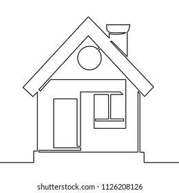 continuous one line drawing logo design house illustration