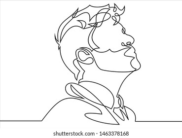 Continuous one line drawing of man portrait. Hairstyle. Fashionable men's style.