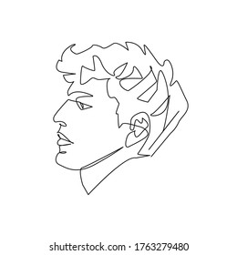 Continuous One Line Drawing of Man Portrait. Single Line Face. Modern Hairstyle. Fashionable Men's Style Contour Drawing. Raster copy.