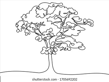continuous one line drawing of nature tree illustration