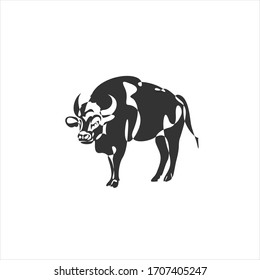 Continuous one line drawing style. Bull cow icon. illustration.