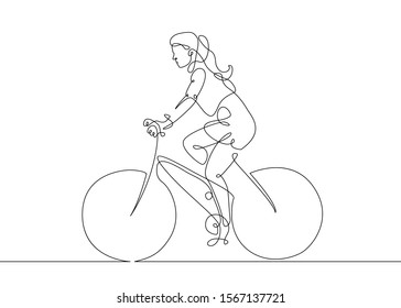 Continuous one line drawing  woman girl on a bicycle