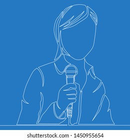 Continuous one single line drawing entertainer talking woman holding microphone icon isolated illustration concept