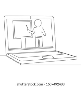 Continuous one single line drawing online education tutorial icon illustration concept