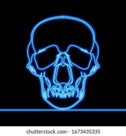 Continuous one single line drawing skull x-ray icon neon glow illustration concept