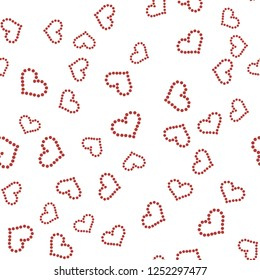 Continuous Pattern with Red heart of dots. Elements are not cropped. Pattern under the mask. Perfect design for textile, box, posters, cards, web etc.