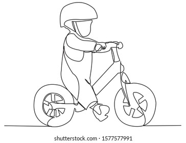 continuous single drawn one line child on a bicycle, a bicycle without pedals. hand-drawn picture silhouette. Line art. the child is riding a bicycle without pedals