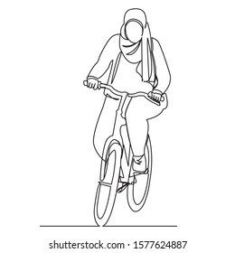 continuous single drawn one line Muslim woman on a bicycle drawn by hand picture silhouette.Line art. character of a modern Muslim woman on a bicycle