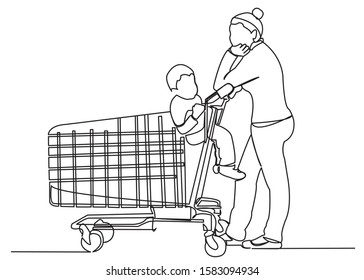 continuous single drawn one line mom with a toddler in the store hand-drawn picture silhouette. Line art. Mom and child in the box in the cash register