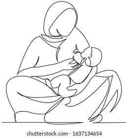 continuous single drawn one line indian woman krmit her child with a breast drawn hand-drawn picture silhouette. Line art. character woman with a child. doodle