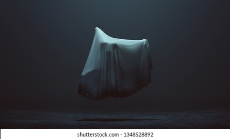 Contorted Evil Spirit Floating in a Death Shroud in a Foggy Void Front View 3d Illustration 3d Rendering