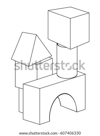 contour drawing of the toy blocks for coloring