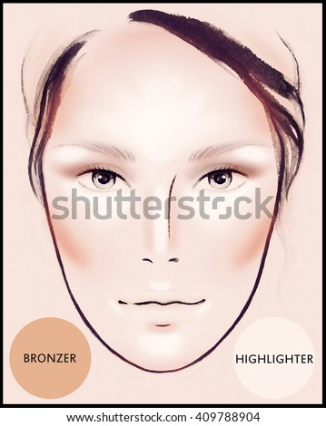 Contour and Highlight makeup. Contouring face make-up. Sample idea. Fashion illustration